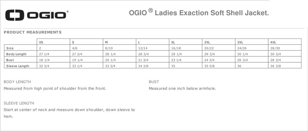 OGIO Women's Size Chart