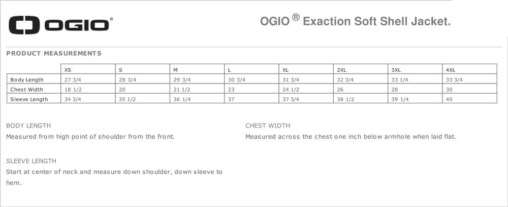 OGIO Men's Size Chart